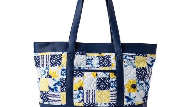 American Heritage Textiles Megan Handbag; Cobalt Sun - 21.5 x 13 x 6 in.