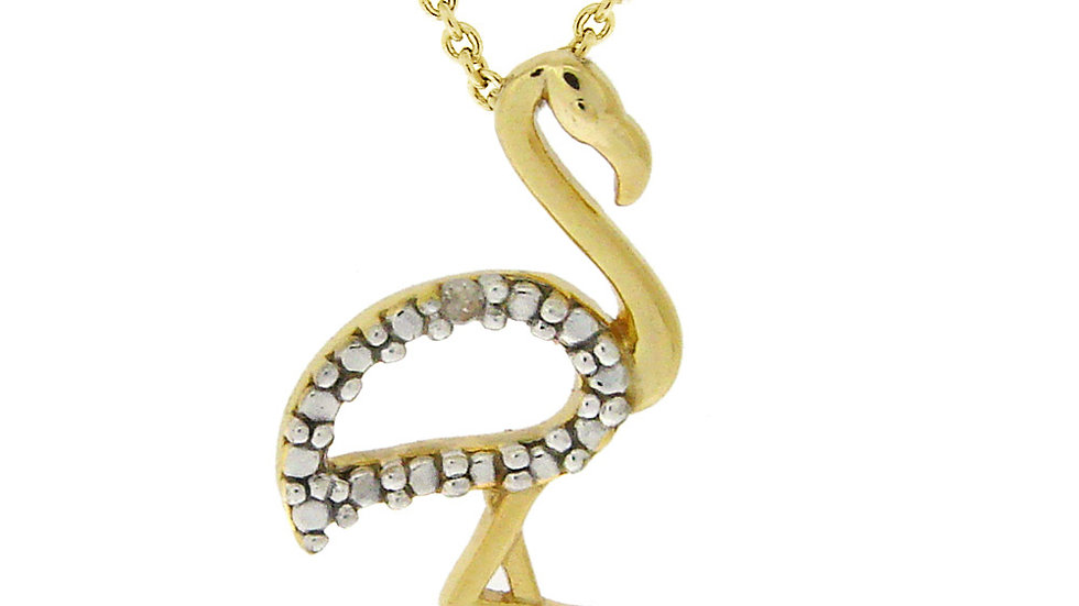 18K Gold over Sterling Silver Diamond Accent Flamingo Necklace
