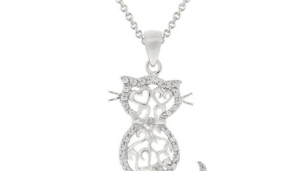 Sterling Silver Diamond Accent Filigree Cat Pendant