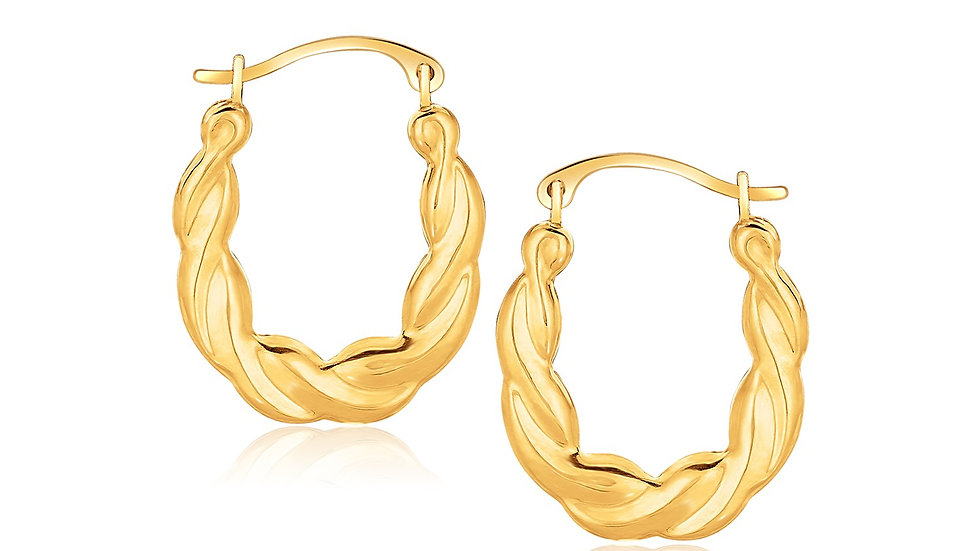 10k Yellow Gold Oval Twist Hoop Earrings