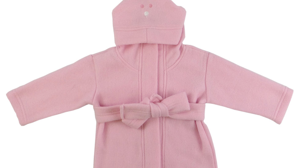Bambini Fleece Robe With Hoodie Pink