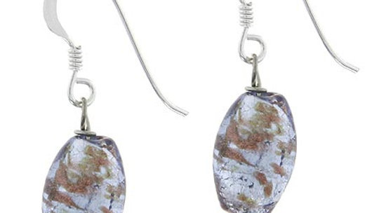 Sterling Silver Lavender Foil Glass Oval Dangle Earrings