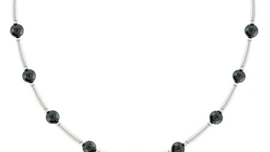 Genuine 4mm Hematite Stone Sterling Silver Bar & Bead Necklace
