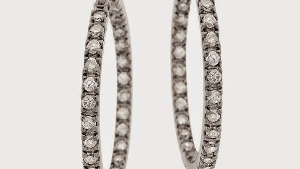 Sterling Silver 25mm Inside Out CZ Hoop Earrings