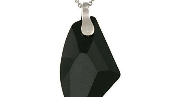 Sterling Silver Black Swarovski Elements Rock Pendant