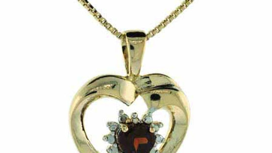 18K Gold over Sterling Silver Garnet & Diamond Accent Heart Necklace