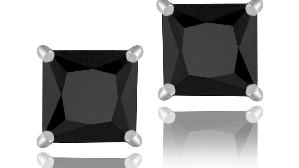 Sterling Silver Black CZ 6mm Square Stud Earrings