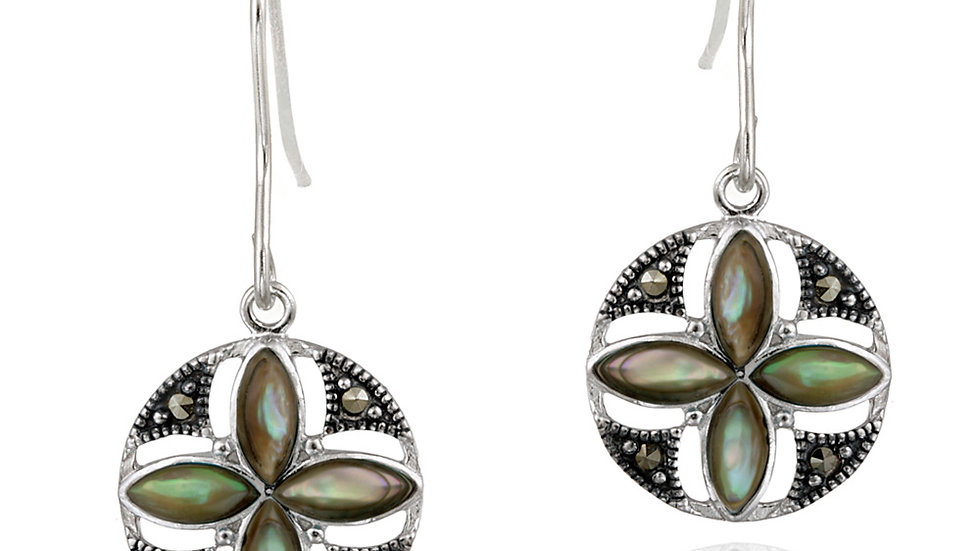 Sterling Silver Abalone & Marcasite Flower Dangle Earrings
