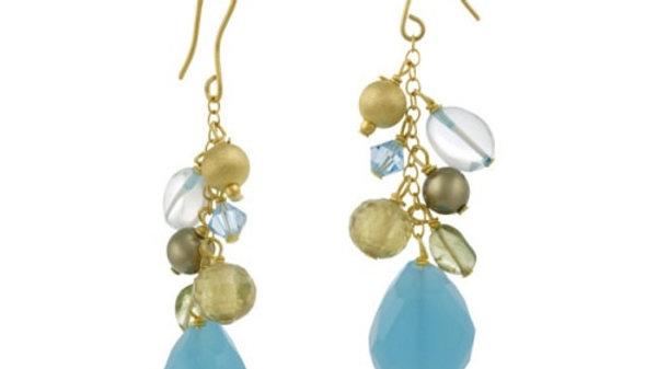 18K G over Silver Multi gemstone Beads w/ Dangling Blue Quartz Stone Necklace