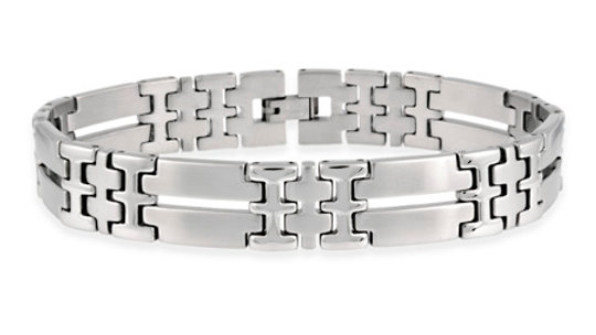 "Stainless Steel Double ""I"" and Bar Link Bracelet"