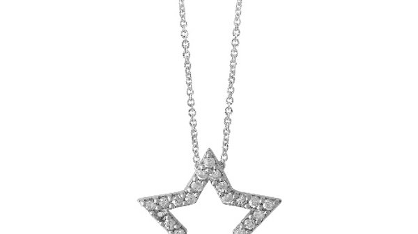 Sterling Silver CZ Open Star Necklace
