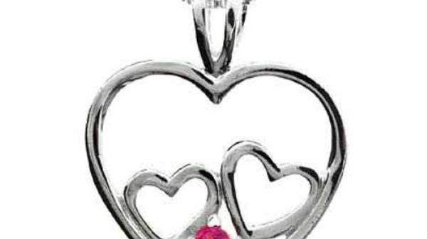 Sterling Silver Double Heart Created Pink Sapphire Heart Pendant