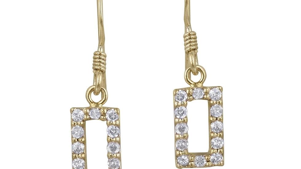 18K Gold over Sterling Silver CZ Open Rectangle Dangle Earrings