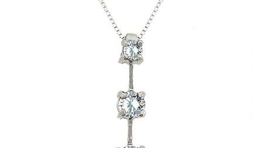 Sterling Silver 4/5ct CZ Three Stone Journey Necklace