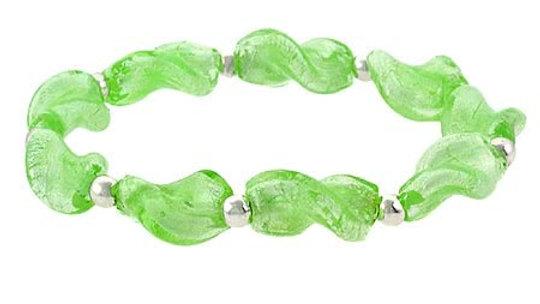 Sterling Silver Spring Green Twisted Foil Glass Stretch Bracelet