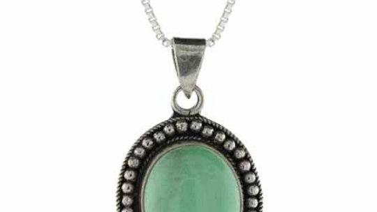 Genuine Variscite Stone Sterling Silver Bali Beaded Oval Pendant