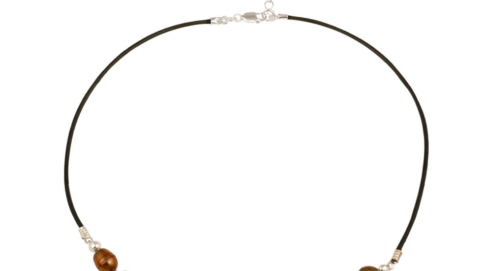 Silver Freshwater Cultured Multi Colored Brown Pearl on Leather Beaded Necklace