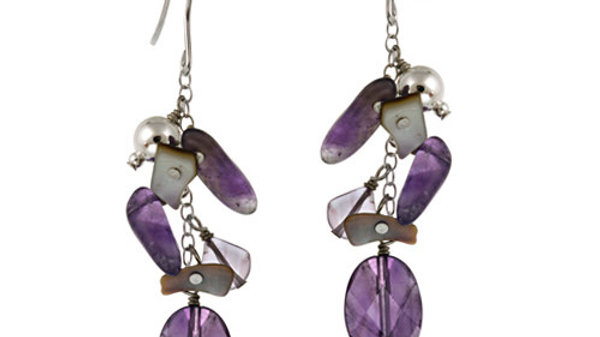 Sterling Silver Beads, Abalone, Amethyst Chips & Nuggets Cluster Earrings