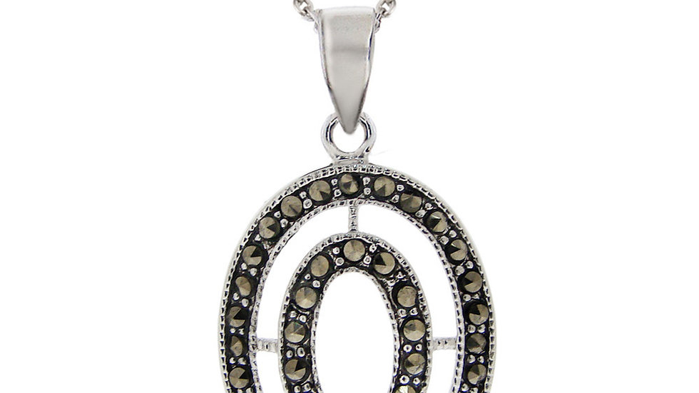 Sterling Silver Marcasite Double Oval Pendant