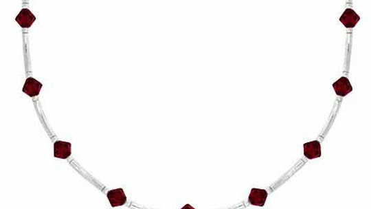 Sterling Silver Red Genuine Swarovksi Crystal Bar Necklace