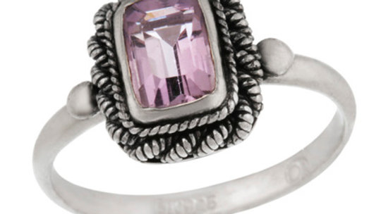 Sterling Silver Amethyst Rectangular Vintage Solitaire Ring Size 7