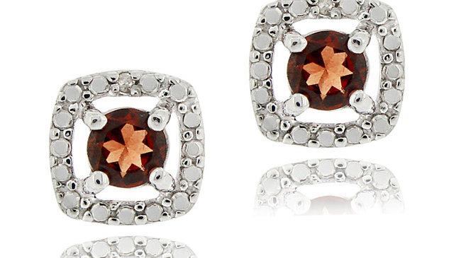 Sterling Silver Garnet & Diamond Accent Square Stud Earrings