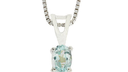 Sterling Silver Prong Set Genuine Blue Topaz Small Oval Pendant