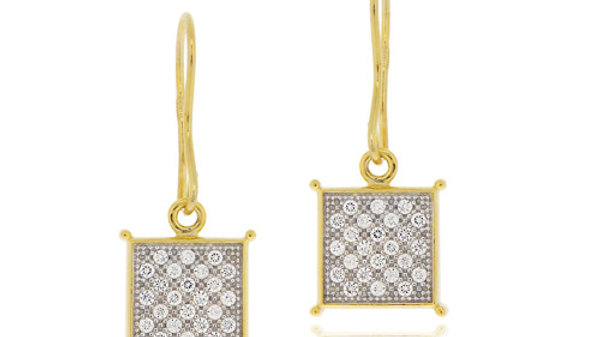 18K Gold over Sterling Silver Two-Tone CZ Micro Pave Square Earrings
