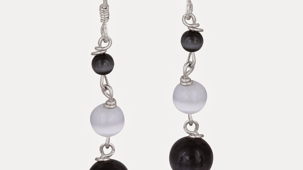 Sterling Silver Black and White Cats Eye Bead Dangle Earrings
