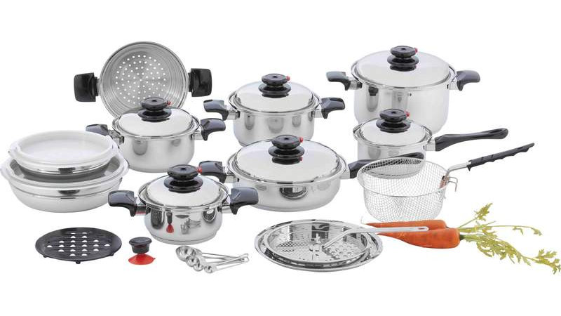 """Chef's Secret; 28pc 12-Element T304 Stainless Steel """"Waterless"""" Cookware"""