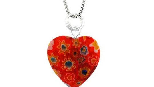 Summer Murano Glass Sterling Silver Bead Orange Millefiori Flower Heart Pendant
