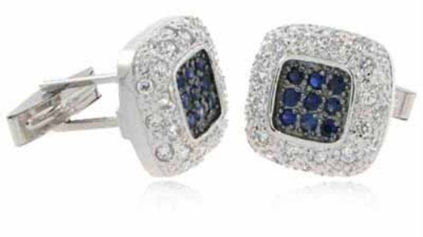 Sterling Silver Blue & Clear CZ Square Cufflinks