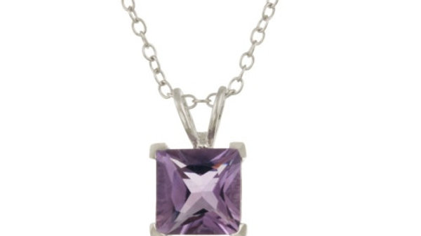 """Sterling Silver 1.65ct TGW Amethyst 7mm Square Solitaire Pendant, 18"""""""