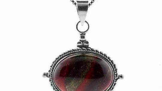 Sterling Silver Genuine Chalcedite Stone Bali Bead Twisted Border Oval Pendant