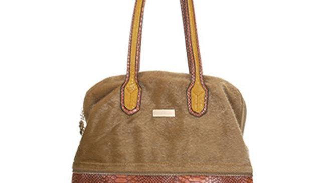 Aryana Neutral Synthetic Fur Suede Dual Shoulder Strap Womens Handbag