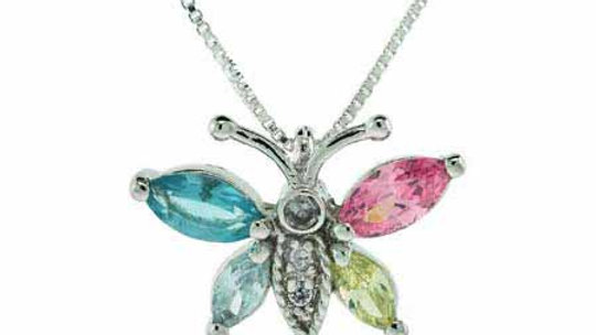 Sterling Silver Multi-Color CZ Butterfly Pendant