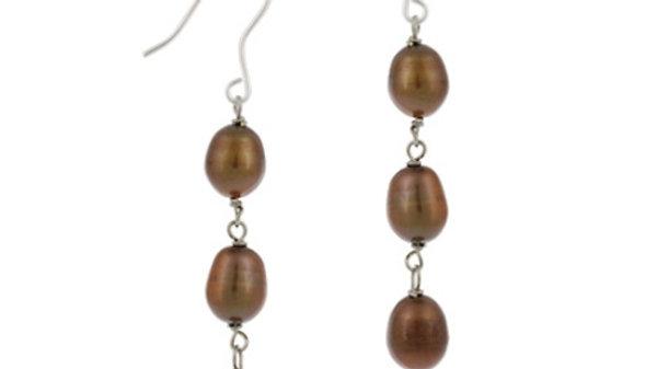 Sterling Silver Baroque Freshwater Cultured Brown Pearl Drop Earrings