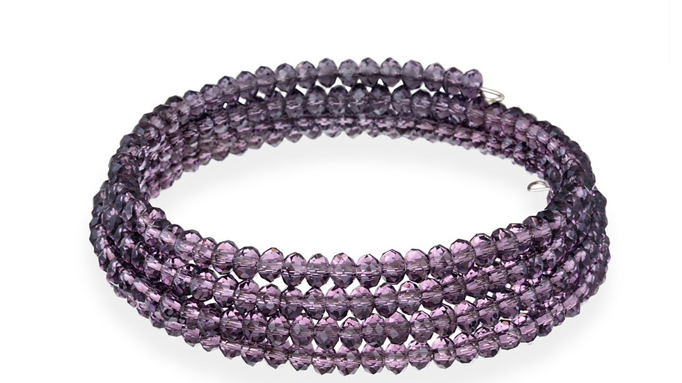 Purple Glass Bead Coil Bracelet