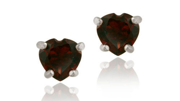 Sterling Silver 1.20ct Garnet 5mm Heart Stud Earrings