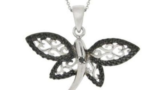 Sterling Silver Black Diamond Accent Filigree Dragonfly Pendant