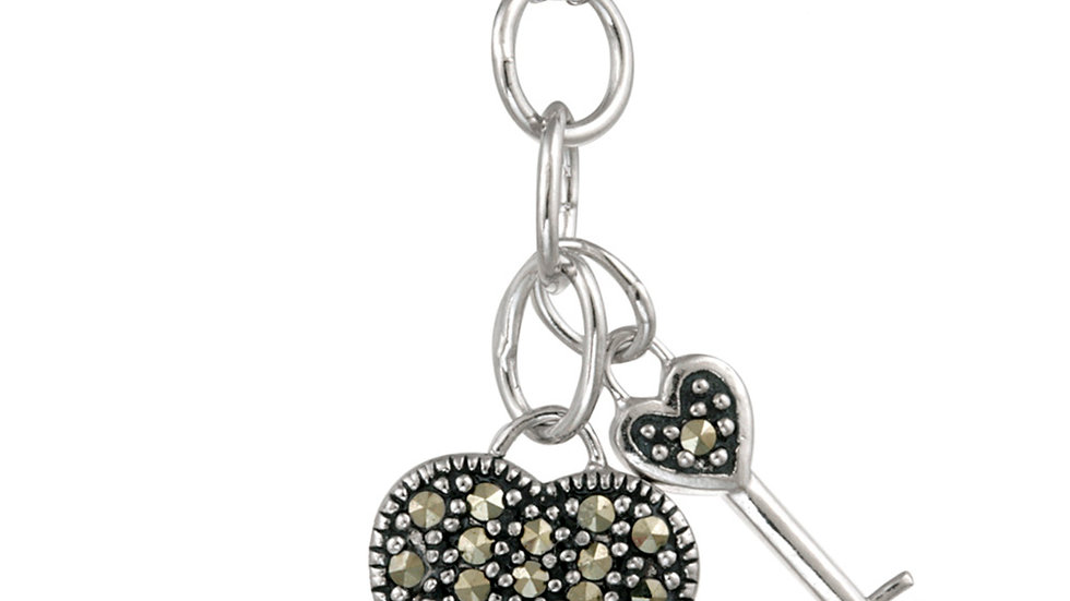 Sterling Silver Marcasite Heart & Key Pendant