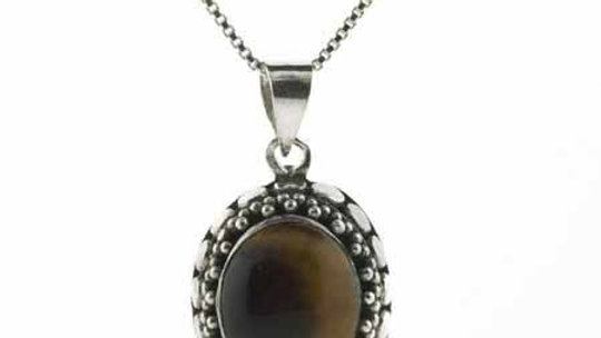 Sterling Silver Bali Bead Genuine Tiger Eye Stone Oval Pendant