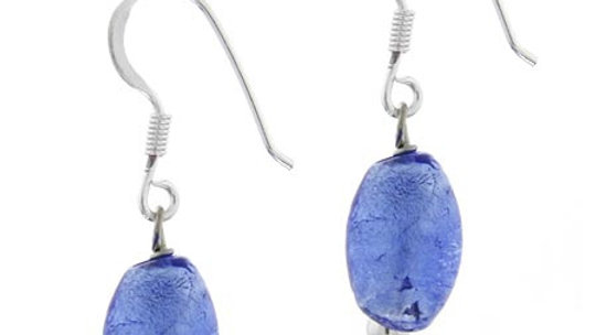 Sterling Silver Royal Blue Foil Glass Oval Dangle Earrings
