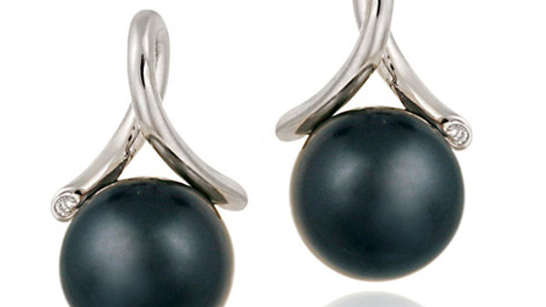 Sterling Silver CZ & Simulated Gray Pearl Twist Earrings
