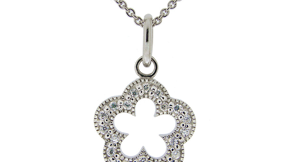 Sterling Silver CZ Open Flower Necklace