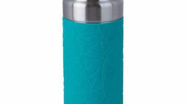B & F KTXVBTEAL 18 oz Double Wall Vacuum Bottle with Wrap & Flip Top Lid; Teal