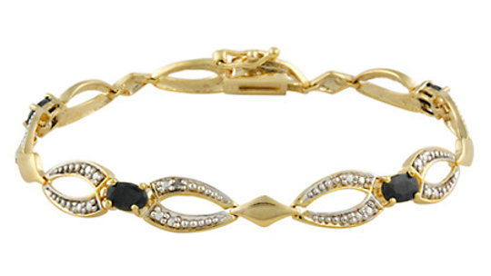 18K Gold over Stelring Silver Sapphire & Diamond Accent Bracelet