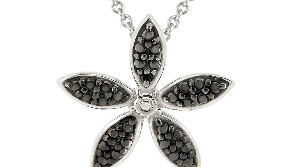 Sterling Silver Black Diamond Accent Flower Pendant