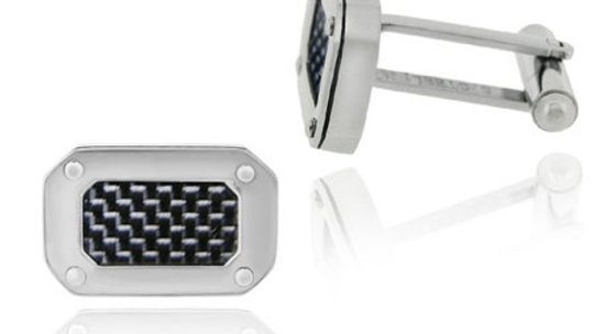 Stainless Steel and Black Carbon Fiber Rectangle Men's Cufflinks