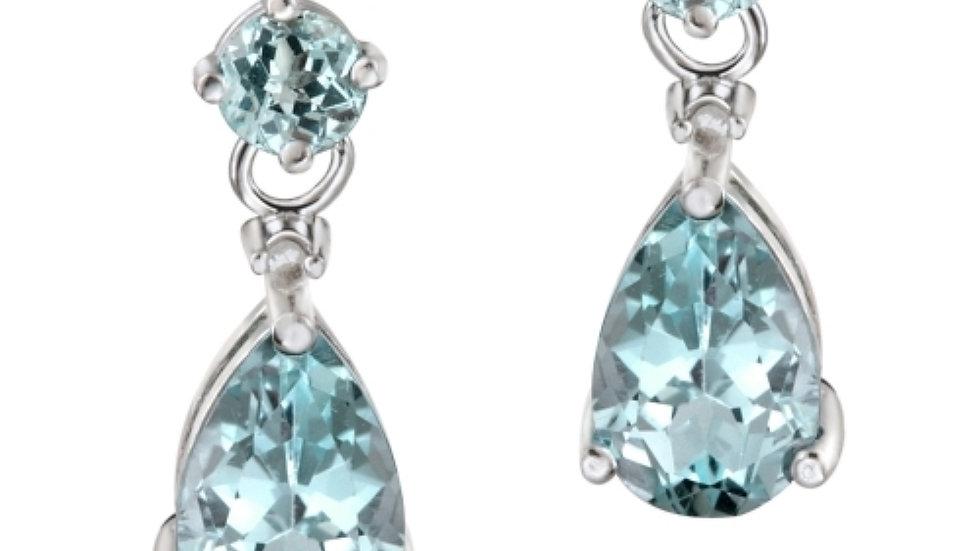 Sterling Silver 3.6 Ct. TGW Blue Topaz & Diamond Accent Teardrop Earrings